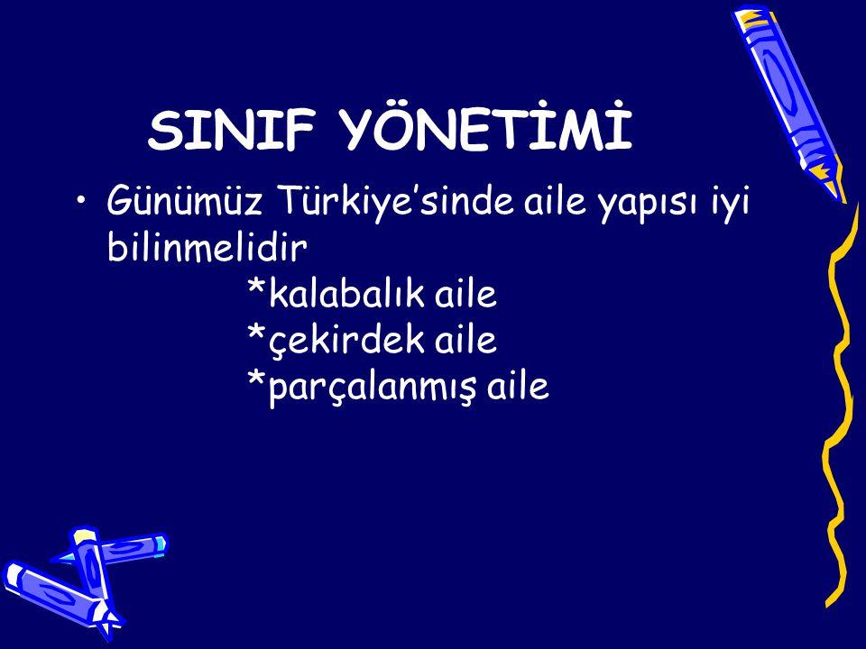 SINIF YÖNETİMİ Günümüz Türkiye'sinde aile yapısı iyi bilinmelidir *kalabalık aile *çekirdek aile *parçalanmış aile.