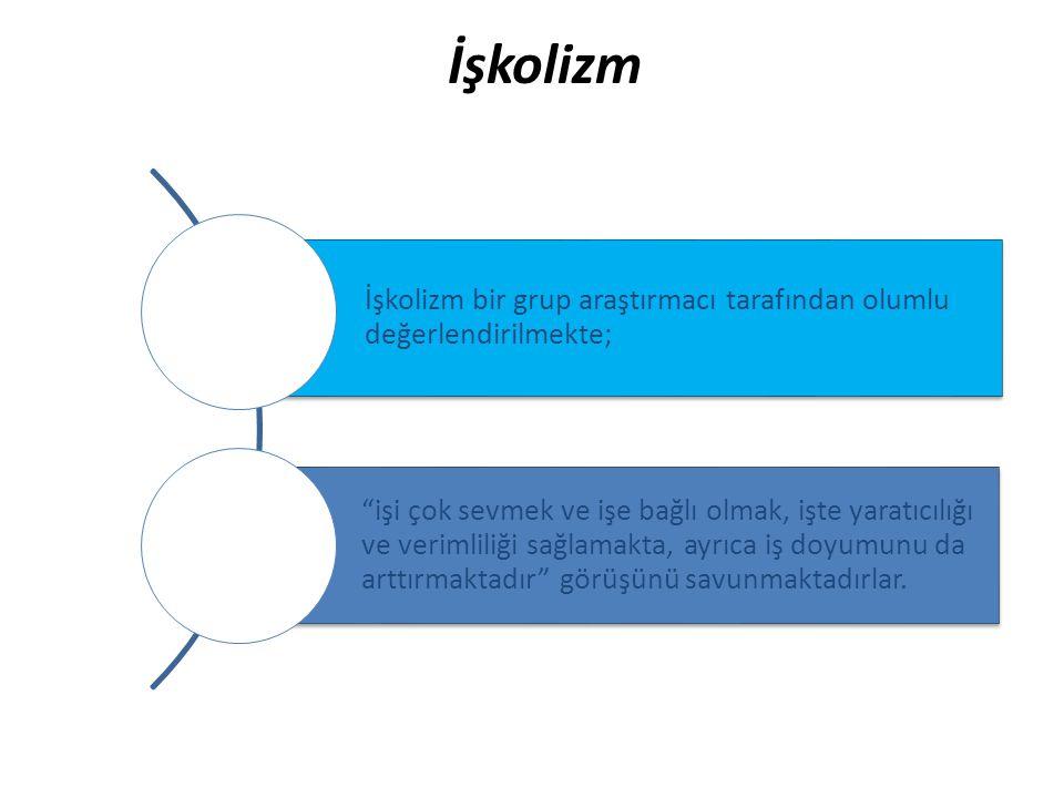 İşkolizm İşkolizm bir grup araştırmacı tarafından olumlu değerlendirilmekte;