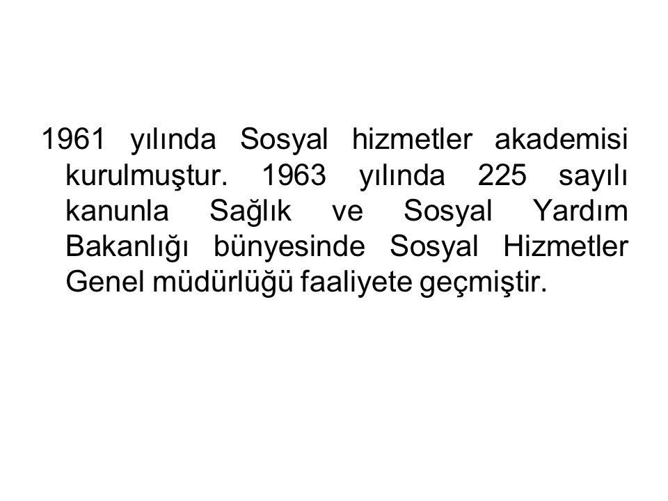 1961 yılında Sosyal hizmetler akademisi kurulmuştur