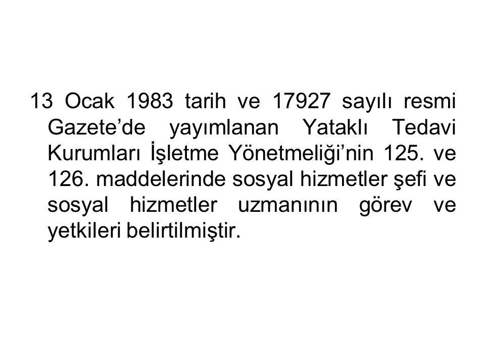 13 Ocak 1983 tarih ve 17927 sayılı resmi Gazete'de yayımlanan Yataklı Tedavi Kurumları İşletme Yönetmeliği'nin 125.