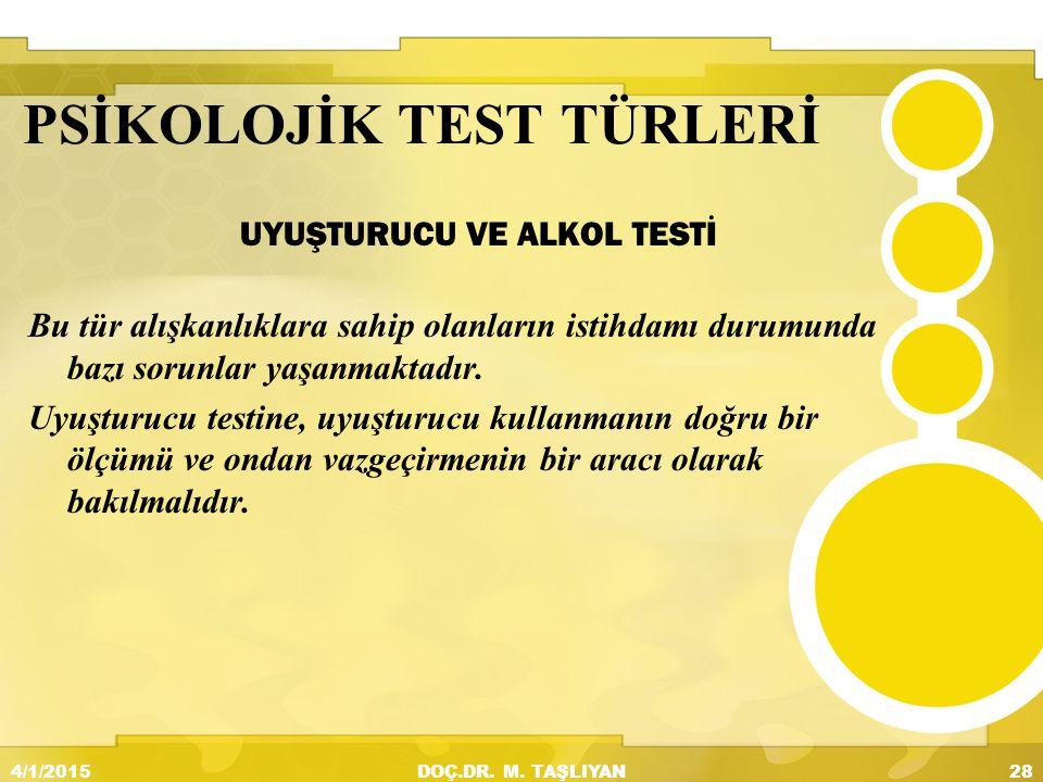 PSİKOLOJİK TEST TÜRLERİ