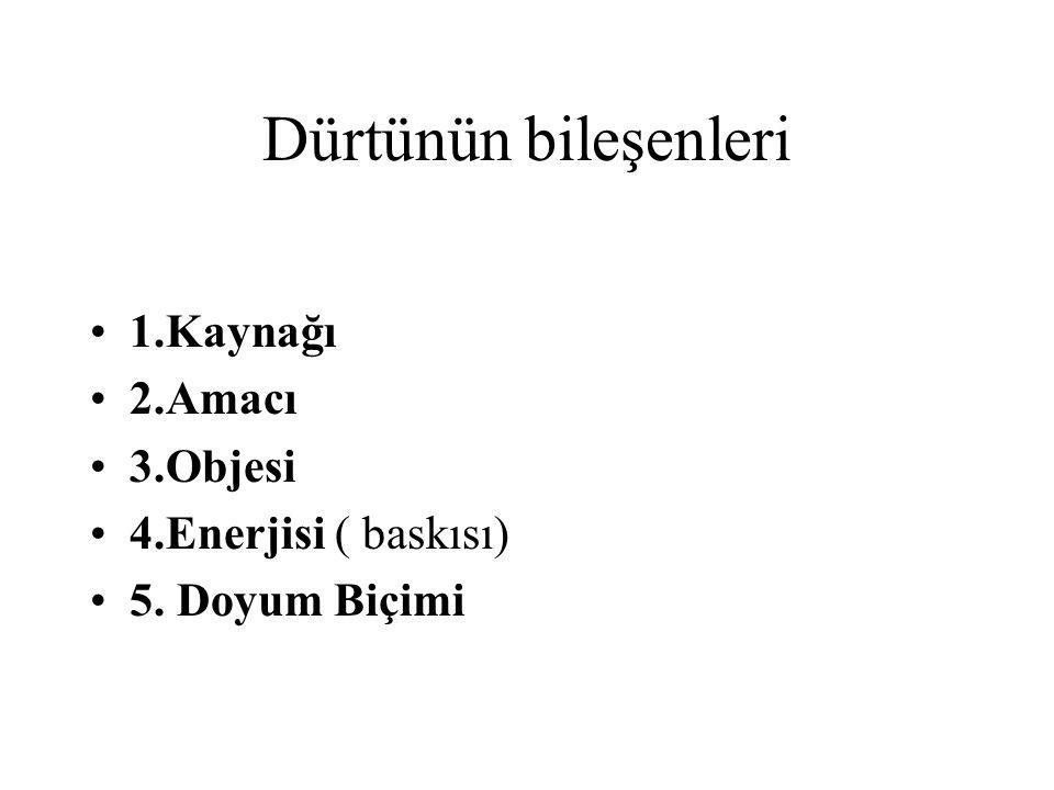 Dürtünün bileşenleri 1.Kaynağı 2.Amacı 3.Objesi 4.Enerjisi ( baskısı)