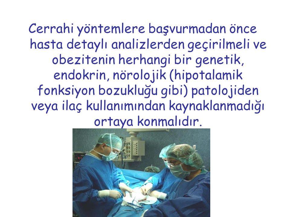 Cerrahi yöntemlere başvurmadan önce hasta detaylı analizlerden geçirilmeli ve obezitenin herhangi bir genetik, endokrin, nörolojik (hipotalamik fonksiyon bozukluğu gibi) patolojiden veya ilaç kullanımından kaynaklanmadığı ortaya konmalıdır.