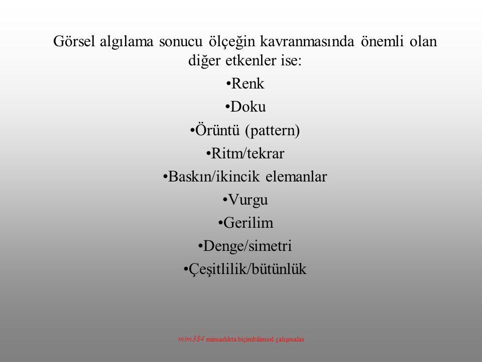 Baskın/ikincik elemanlar Vurgu Gerilim Denge/simetri