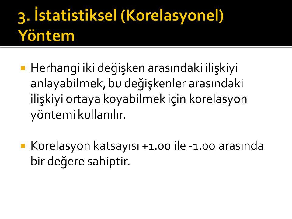 3. İstatistiksel (Korelasyonel) Yöntem