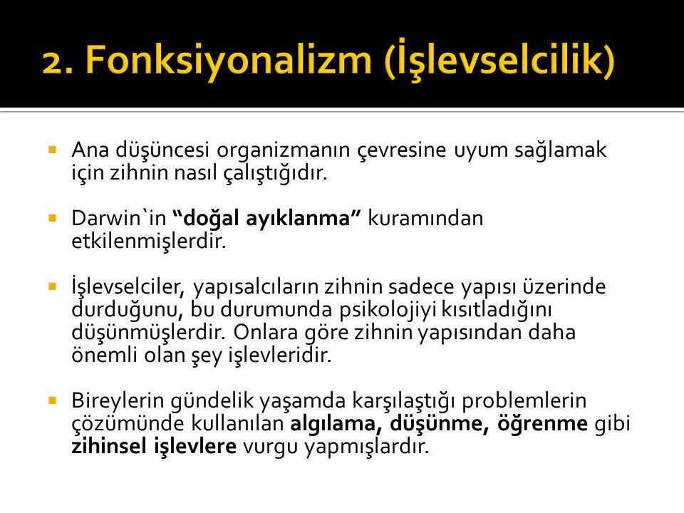 2. Fonksiyonalizm (İşlevselcilik)