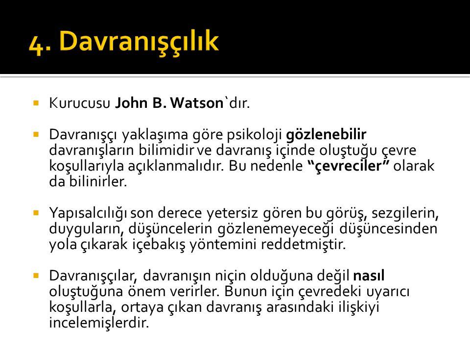 4. Davranışçılık Kurucusu John B. Watson`dır.