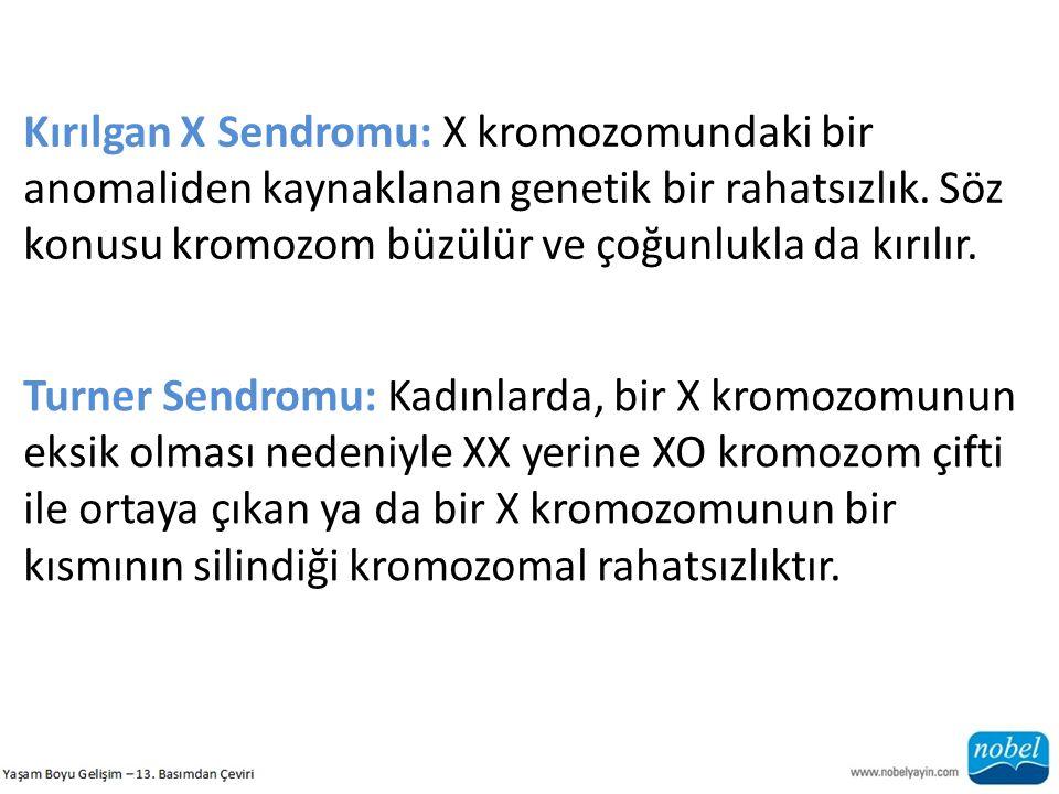 Kırılgan X Sendromu: X kromozomundaki bir anomaliden kaynaklanan genetik bir rahatsızlık. Söz konusu kromozom büzülür ve çoğunlukla da kırılır.
