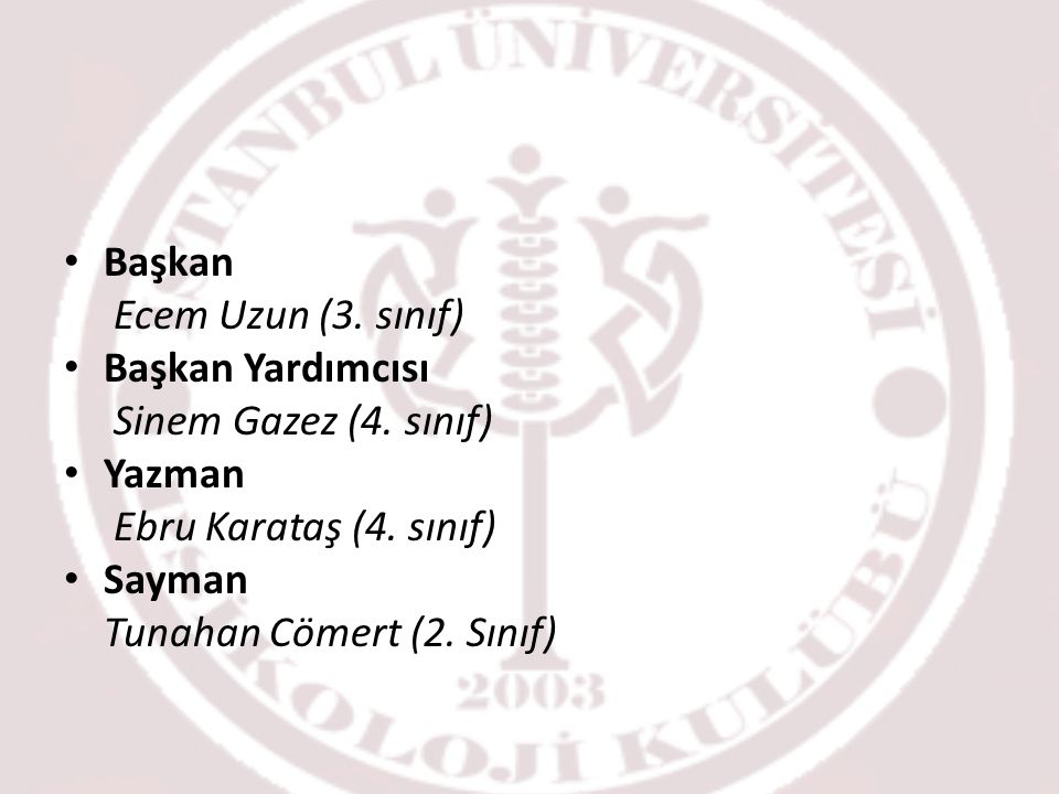 Başkan Ecem Uzun (3. sınıf) Başkan Yardımcısı. Sinem Gazez (4. sınıf) Yazman. Ebru Karataş (4. sınıf)