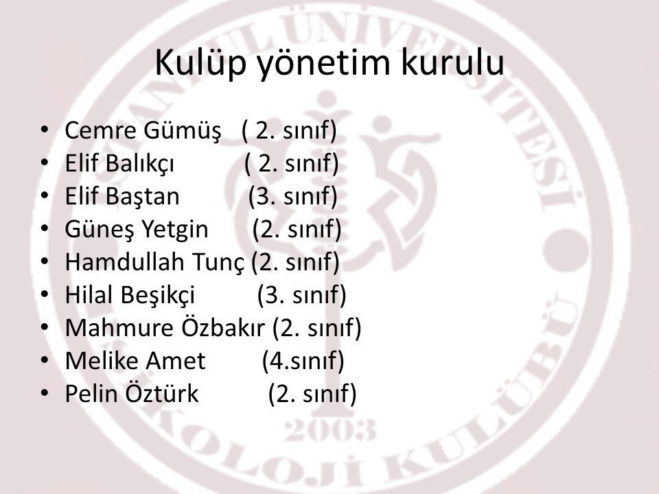 Kulüp yönetim kurulu Cemre Gümüş ( 2. sınıf) Elif Balıkçı ( 2. sınıf)