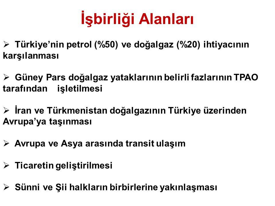 İşbirliği Alanları Türkiye'nin petrol (%50) ve doğalgaz (%20) ihtiyacının karşılanması.