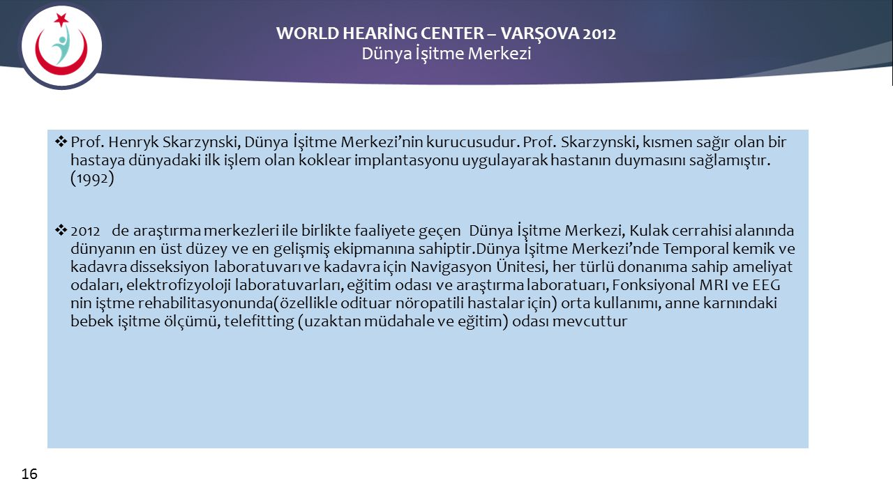WORLD HEARİNG CENTER – VARŞOVA 2012 Dünya İşitme Merkezi
