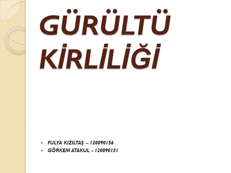 GÜRÜLTÜ KİRLİLİĞİ FULYA KIZILTAŞ – 120090156 GÖRKEM ATAKUL - 120090151