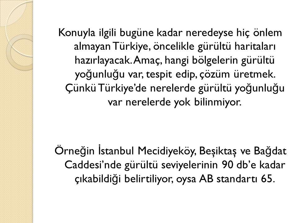 Konuyla ilgili bugüne kadar neredeyse hiç önlem almayan Türkiye, öncelikle gürültü haritaları hazırlayacak.