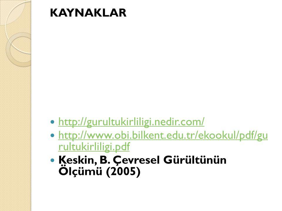 KAYNAKLAR http://gurultukirliligi.nedir.com/ http://www.obi.bilkent.edu.tr/ekookul/pdf/gu rultukirliligi.pdf.