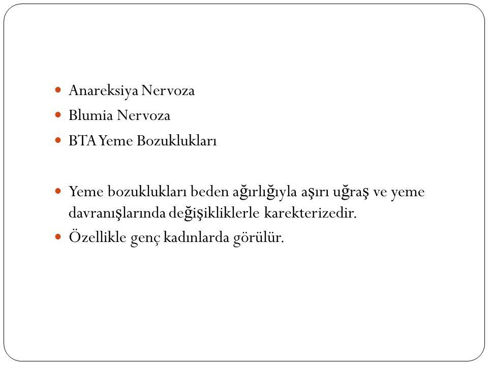 Anareksiya Nervoza Blumia Nervoza. BTA Yeme Bozuklukları.
