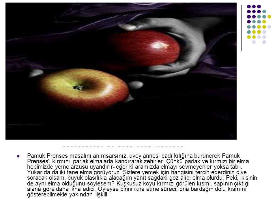 Pamuk Prenses masalını anımsarsınız, üvey annesi cadı kılığına bürünerek Pamuk Prenses i kırmızı, parlak elmalarla kandırarak zehirler.