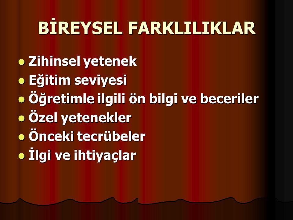 BİREYSEL FARKLILIKLAR