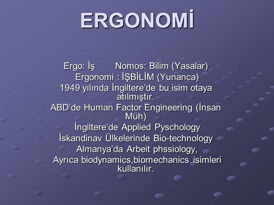 ERGONOMİ Ergo: İş Nomos: Bilim (Yasalar) Ergonomi : İŞBİLİM (Yunanca)