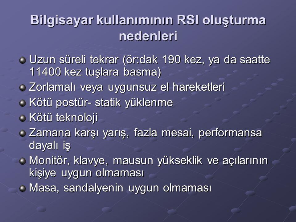 Bilgisayar kullanımının RSI oluşturma nedenleri