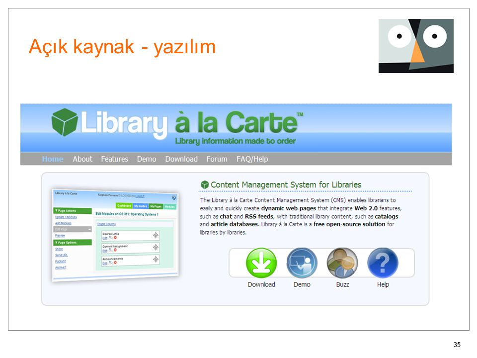 Açık kaynak - yazılım A custom Content Management System (CMS) for libraries.