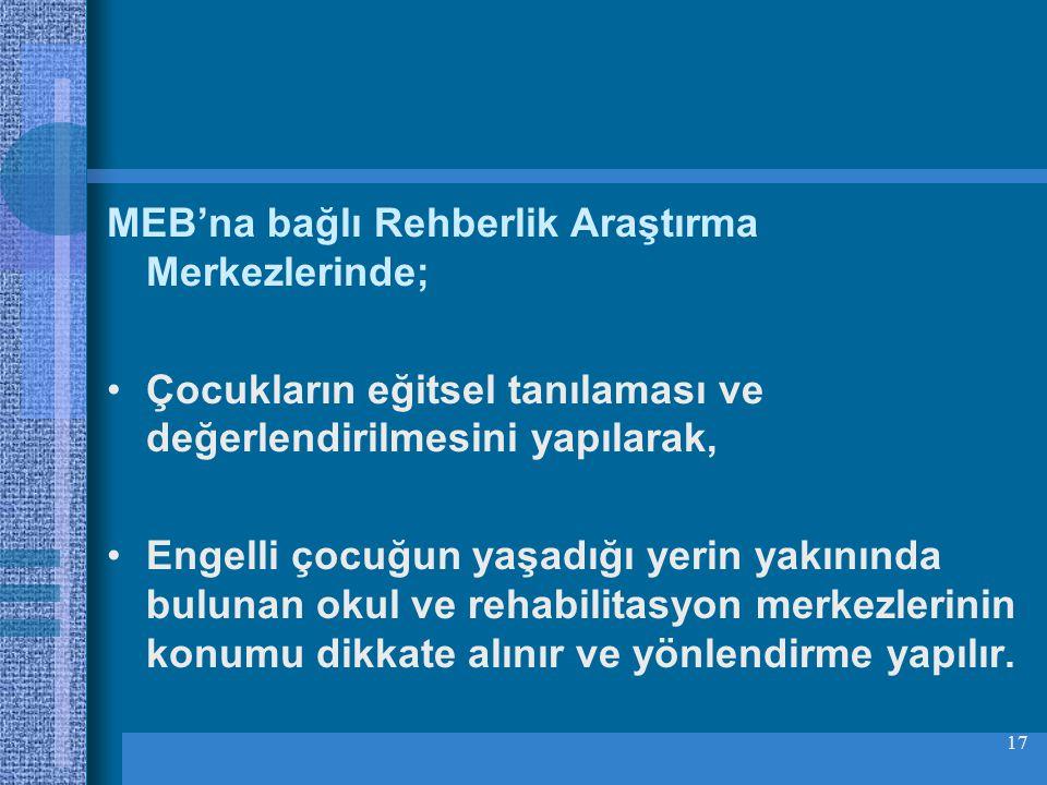 MEB'na bağlı Rehberlik Araştırma Merkezlerinde;