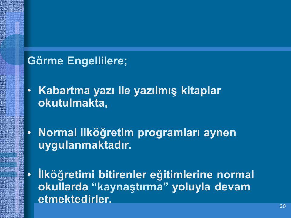 Görme Engellilere; Kabartma yazı ile yazılmış kitaplar okutulmakta, Normal ilköğretim programları aynen uygulanmaktadır.
