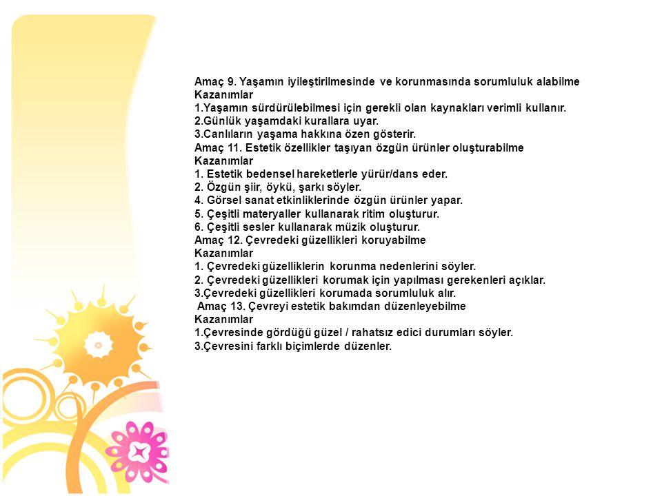 Amaç 9. Yaşamın iyileştirilmesinde ve korunmasında sorumluluk alabilme