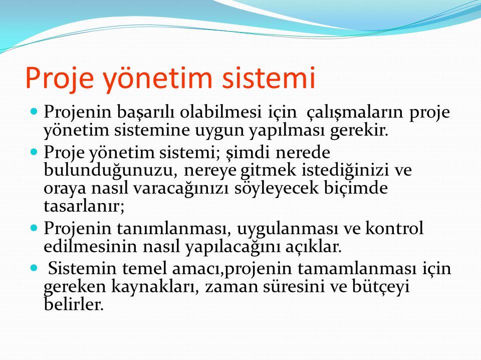 Proje yönetim sistemi Projenin başarılı olabilmesi için çalışmaların proje yönetim sistemine uygun yapılması gerekir.