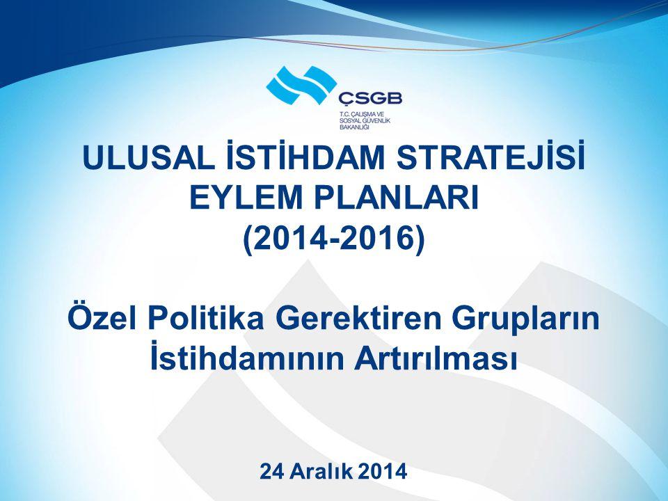 ULUSAL İSTİHDAM STRATEJİSİ EYLEM PLANLARI (2014-2016) Özel Politika Gerektiren Grupların İstihdamının Artırılması 24 Aralık 2014