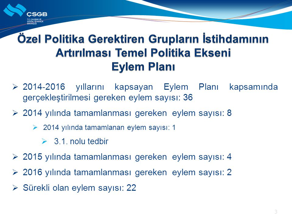 Özel Politika Gerektiren Grupların İstihdamının Artırılması Temel Politika Ekseni Eylem Planı