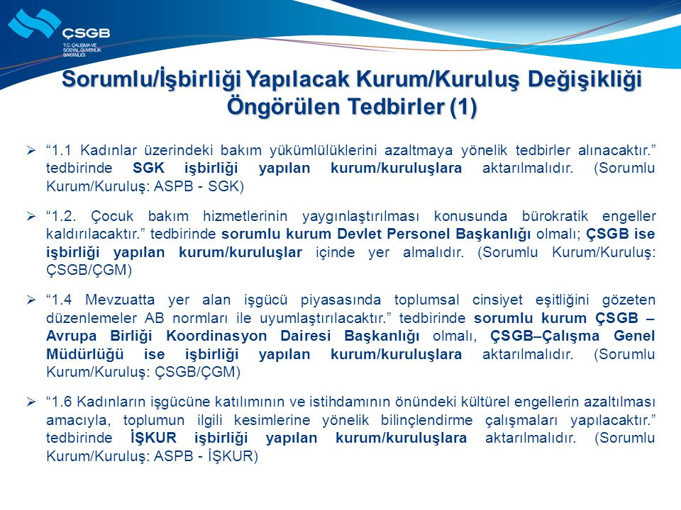 Sorumlu/İşbirliği Yapılacak Kurum/Kuruluş Değişikliği Öngörülen Tedbirler (1)