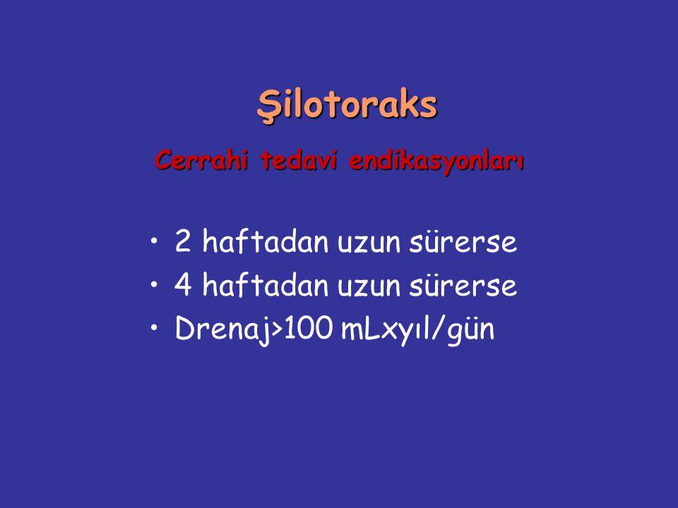 Şilotoraks Cerrahi tedavi endikasyonları