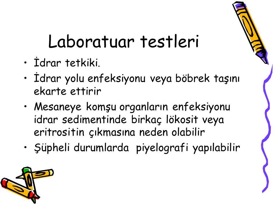 Laboratuar testleri İdrar tetkiki.
