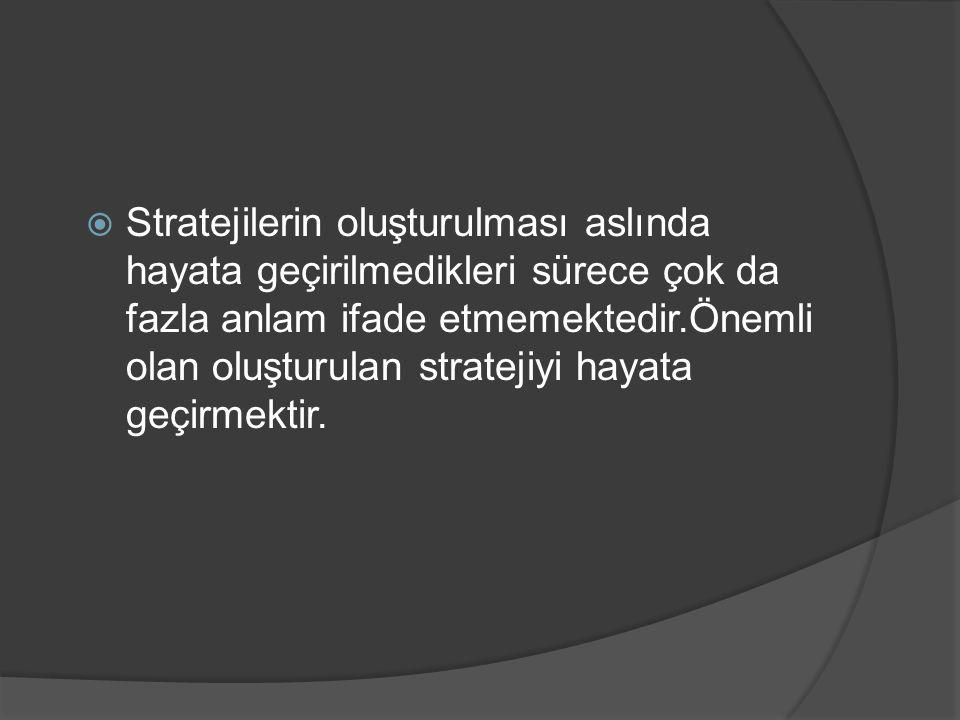 Stratejilerin oluşturulması aslında hayata geçirilmedikleri sürece çok da fazla anlam ifade etmemektedir.Önemli olan oluşturulan stratejiyi hayata geçirmektir.