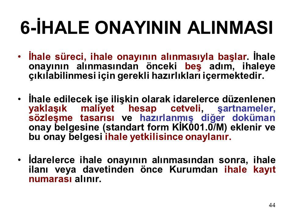 6-İHALE ONAYININ ALINMASI