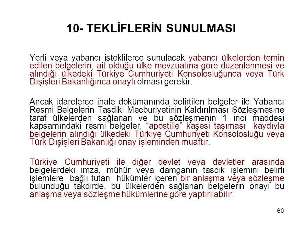 10- TEKLİFLERİN SUNULMASI