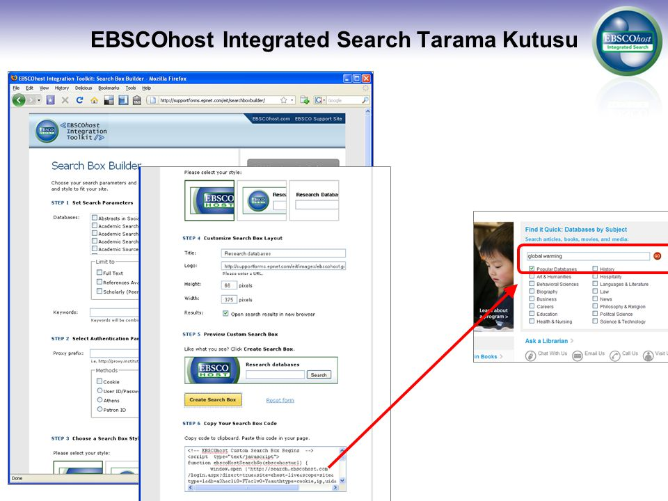 EBSCOhost Integrated Search Tarama Kutusu