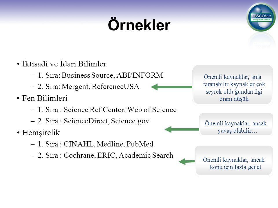 Örnekler İktisadi ve İdari Bilimler. 1. Sıra: Business Source, ABI/INFORM. 2. Sıra: Mergent, ReferenceUSA.