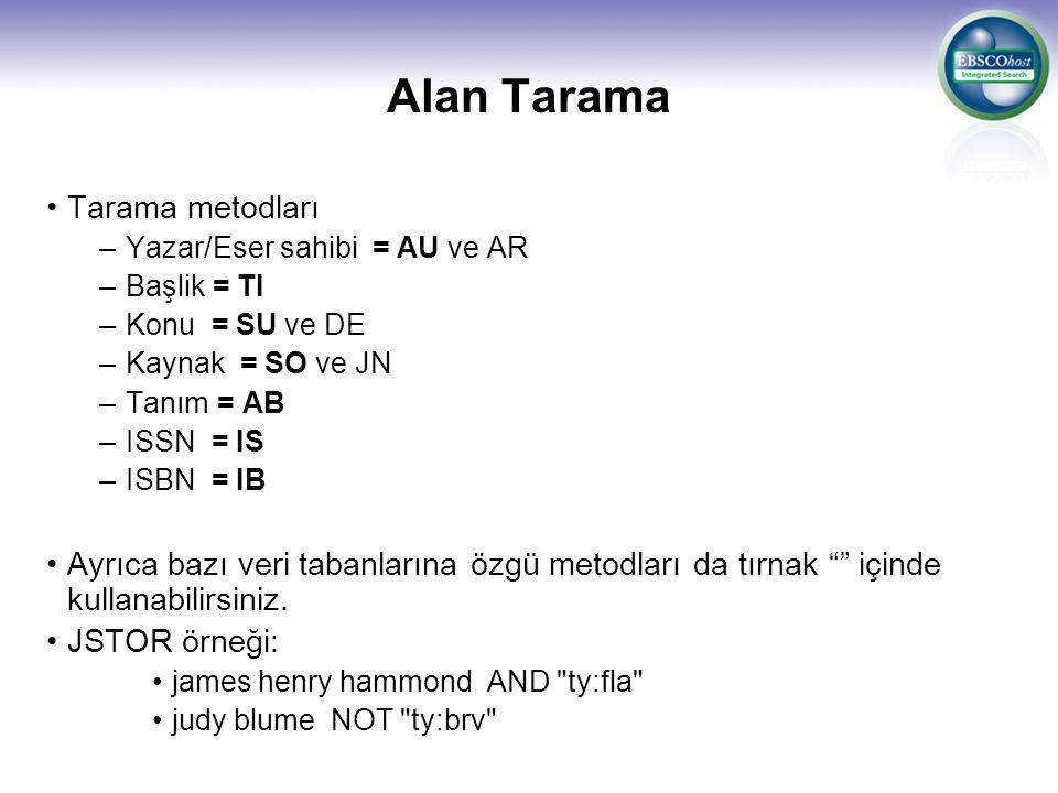 Alan Tarama Tarama metodları