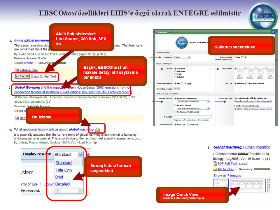 EBSCOhost özellikleri EHIS'e özgü olarak ENTEGRE edilmiştir