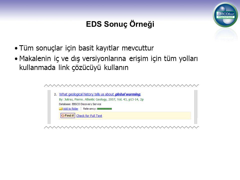 EDS Sonuç Örneği Tüm sonuçlar için basit kayıtlar mevcuttur