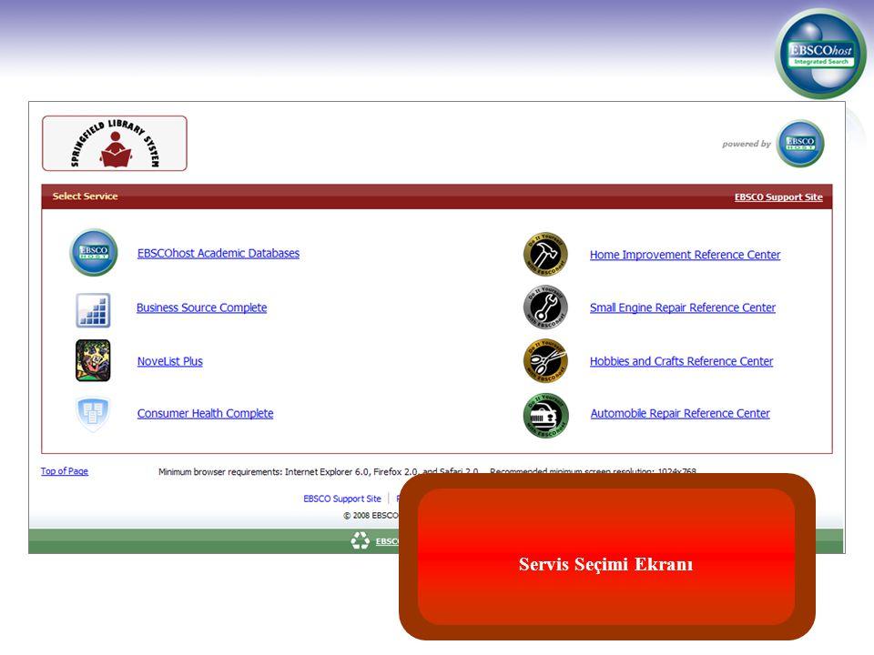 Servis Secimi Servis Seçimi Ekranı