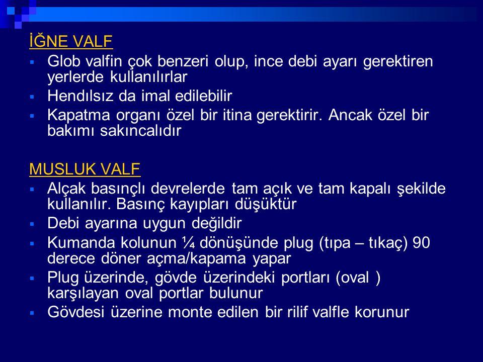 İĞNE VALF Glob valfin çok benzeri olup, ince debi ayarı gerektiren yerlerde kullanılırlar. Hendılsız da imal edilebilir.