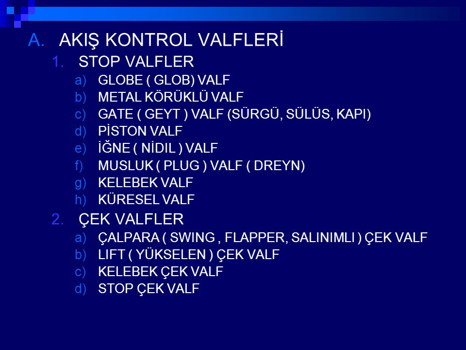 AKIŞ KONTROL VALFLERİ STOP VALFLER ÇEK VALFLER GLOBE ( GLOB) VALF