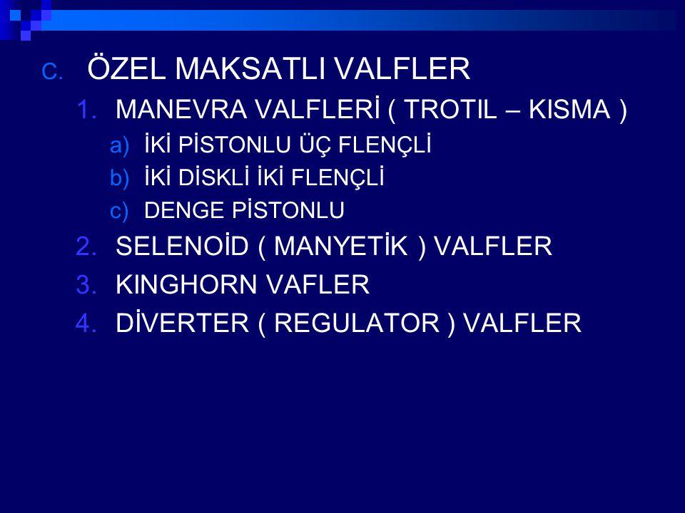 ÖZEL MAKSATLI VALFLER MANEVRA VALFLERİ ( TROTIL – KISMA )