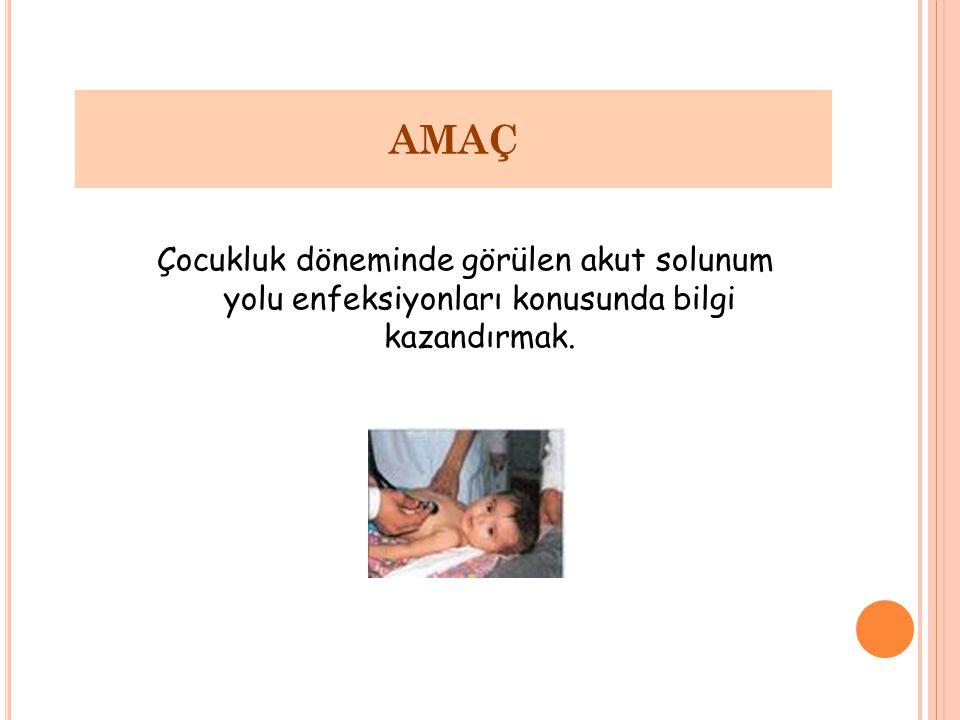 AMAÇ Çocukluk döneminde görülen akut solunum yolu enfeksiyonları konusunda bilgi kazandırmak.