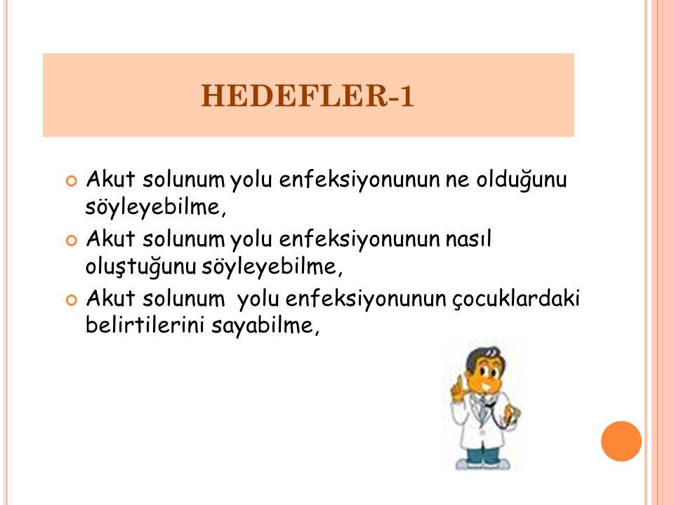 HEDEFLER-1 Akut solunum yolu enfeksiyonunun ne olduğunu söyleyebilme,