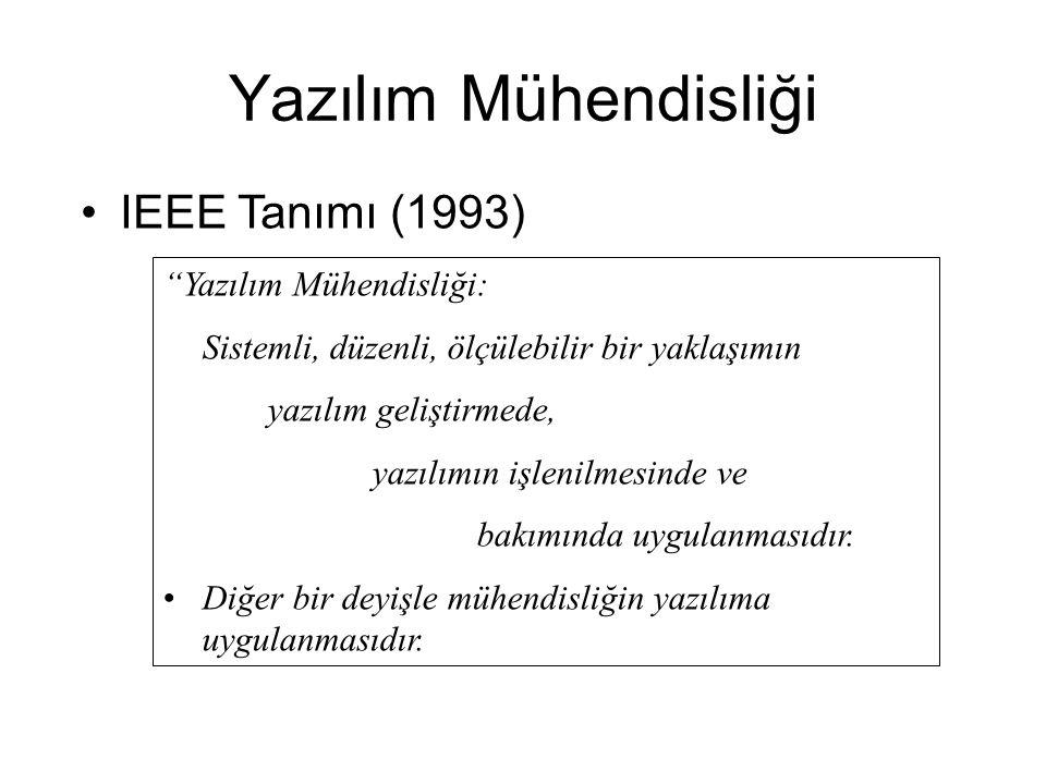 Yazılım Mühendisliği IEEE Tanımı (1993) Yazılım Mühendisliği: