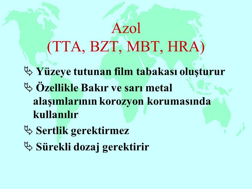 Azol (TTA, BZT, MBT, HRA) Yüzeye tutunan film tabakası oluşturur
